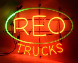 REO Trucks Neon Sign On Original Metal Hanging Rack
