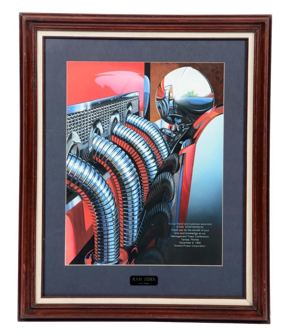 Ram Horn by R. Horgan Framed Original Artwork.