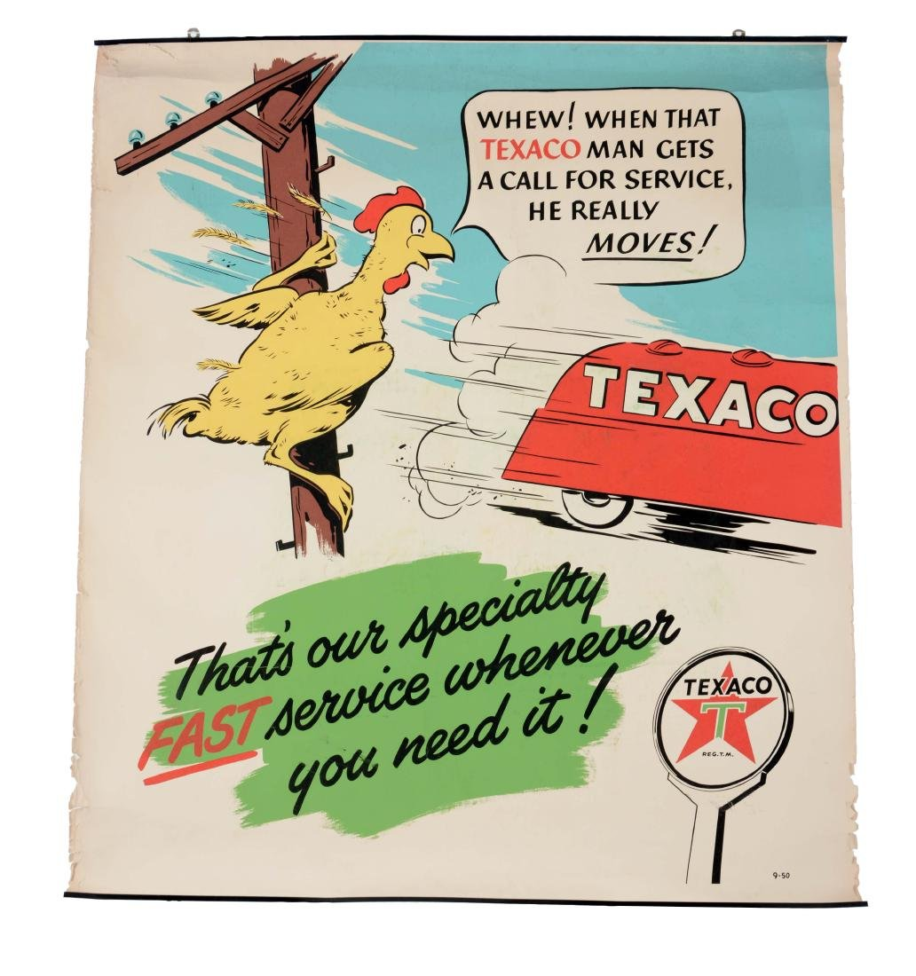 Lot Of 2: Texaco Gasoline & Motor Oil Paper Posters.