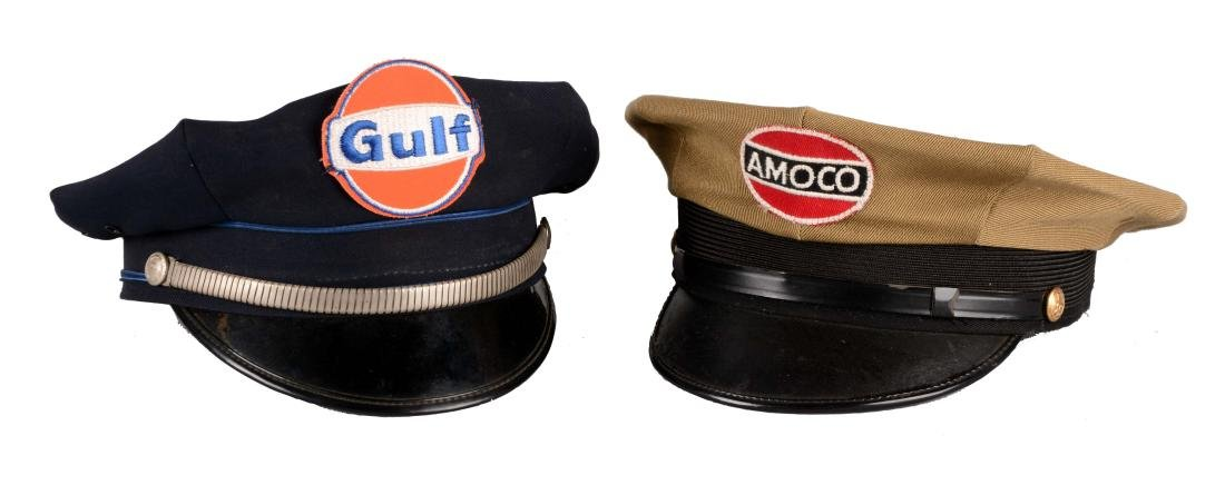Lot Of 2: Gulf & Amoco Service Station Attendant Hats.