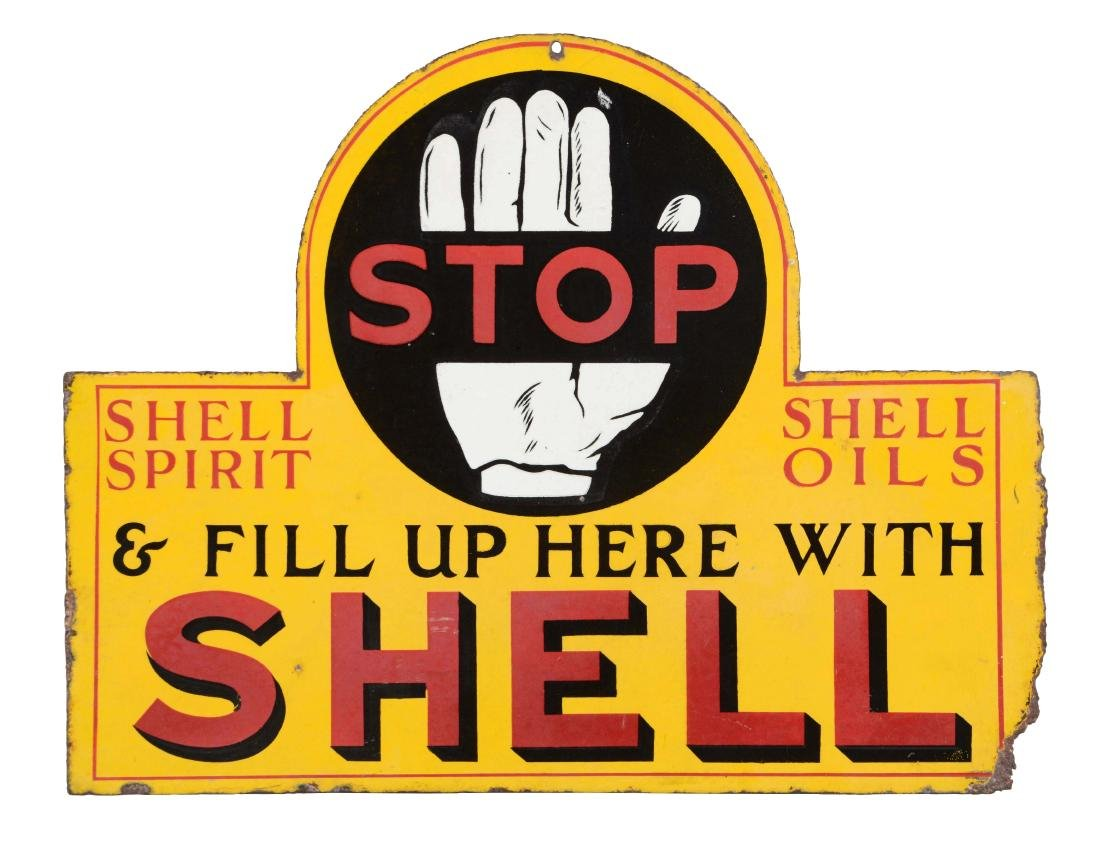 Shell Gasoline Stop & Fill Up with Shell Porcelain