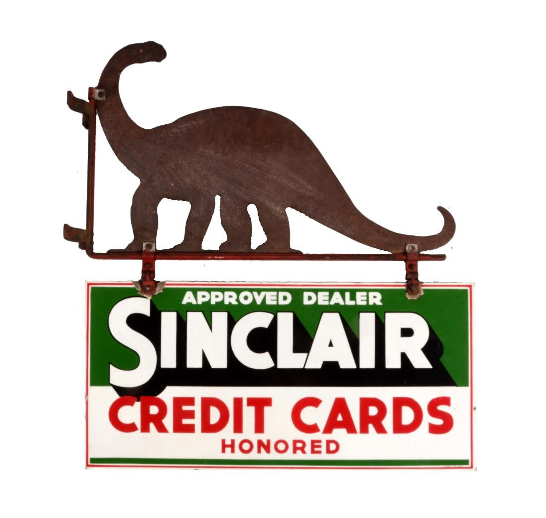 Sinclair Credit Cards Honored Porcelain Sign with Metal