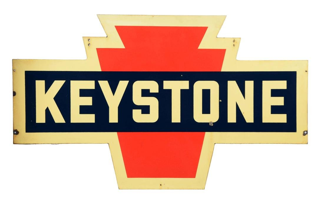 Keystone Gasoline Porcelain Service Station Sign.
