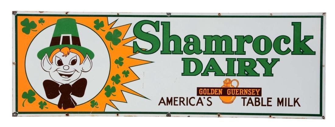Shamrock Dairy Milk Porcelain Sign With Leprechaun