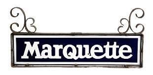 Marquette Porcelain Sign with Original Iron Bracket