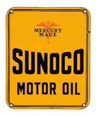 Sunoco Mercury Made Motor Oil Porcelain Sign