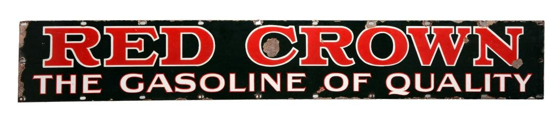 Red Crown Gasoline Porcelain Tanker Truck Strip Sign.
