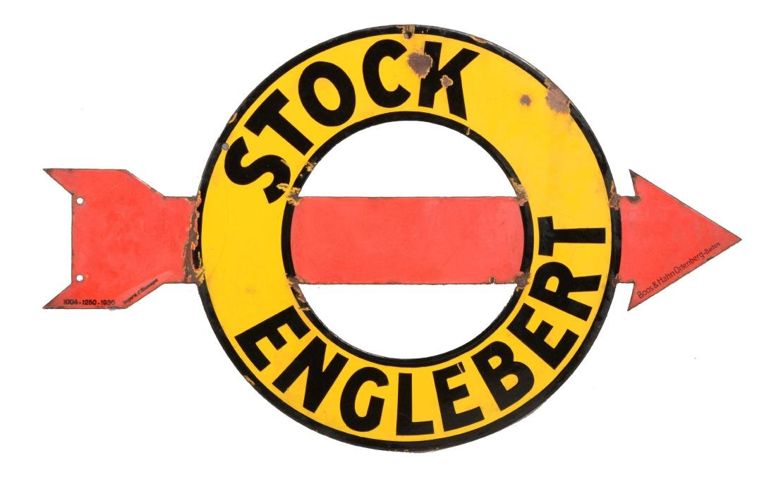 Stock Englebert Diecut Porcelain Sign.