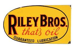 Riley Bros Motor Oil Porcelain Flange Sign