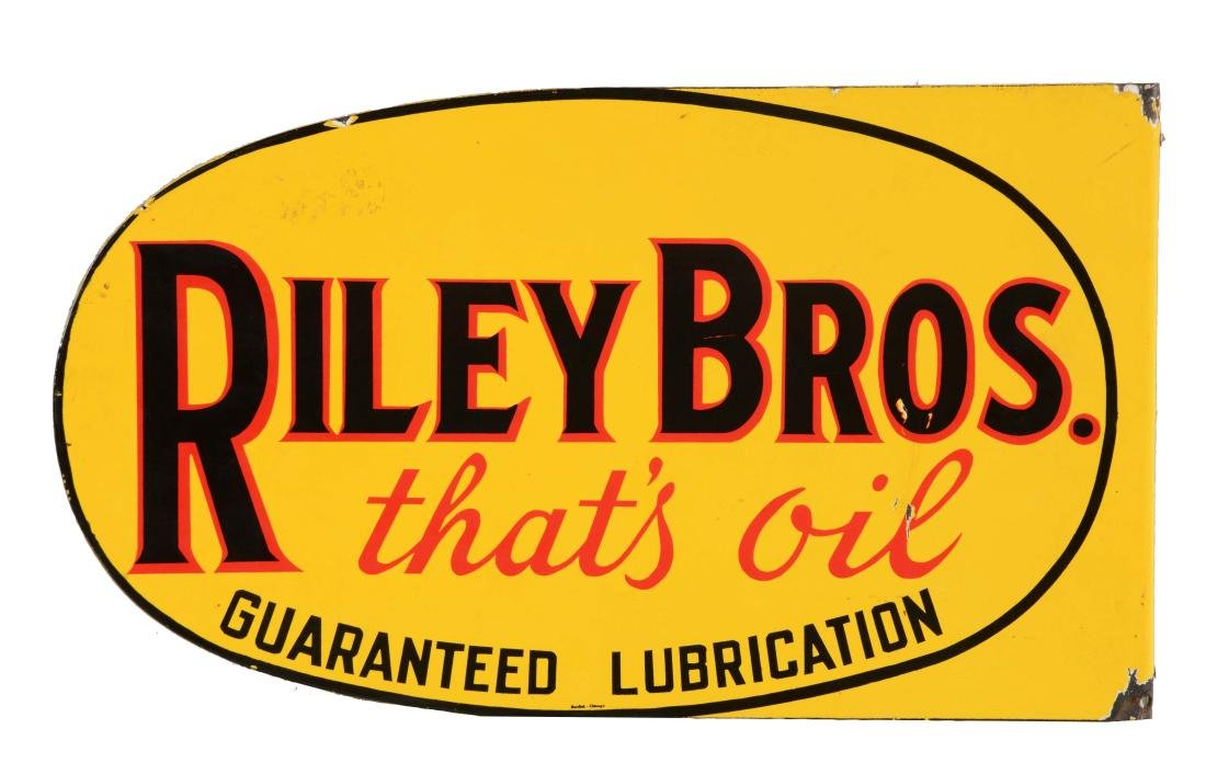 Riley Bros Motor Oil Porcelain Flange Sign.