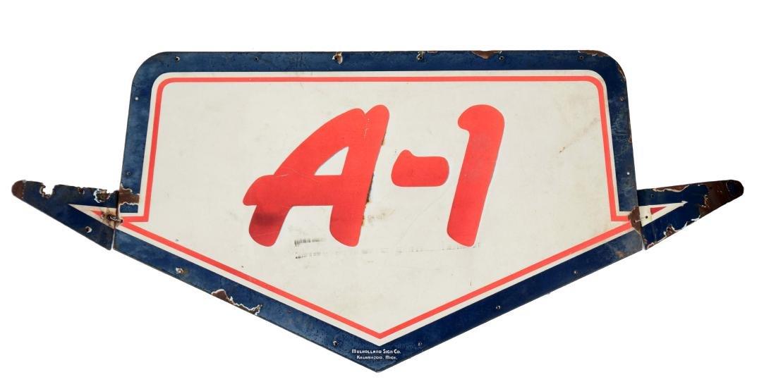 A-1 Used Cars & Trucks Porcelain Arrow Sign.