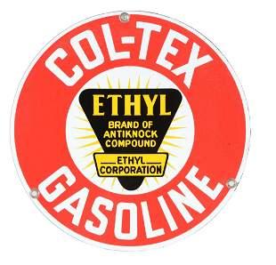 ColTex Ethyl Gasoline Porcelain Pump Plate