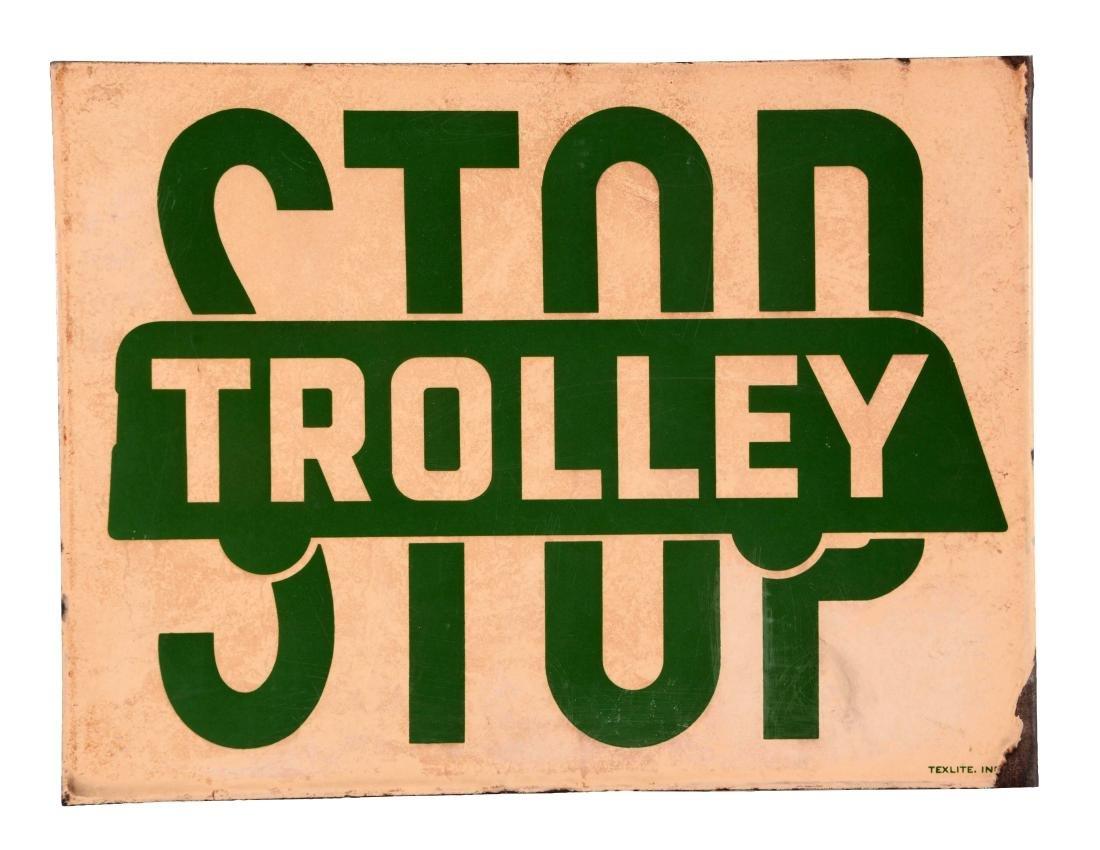 Trolley Stop Porcelain Flange Sign.