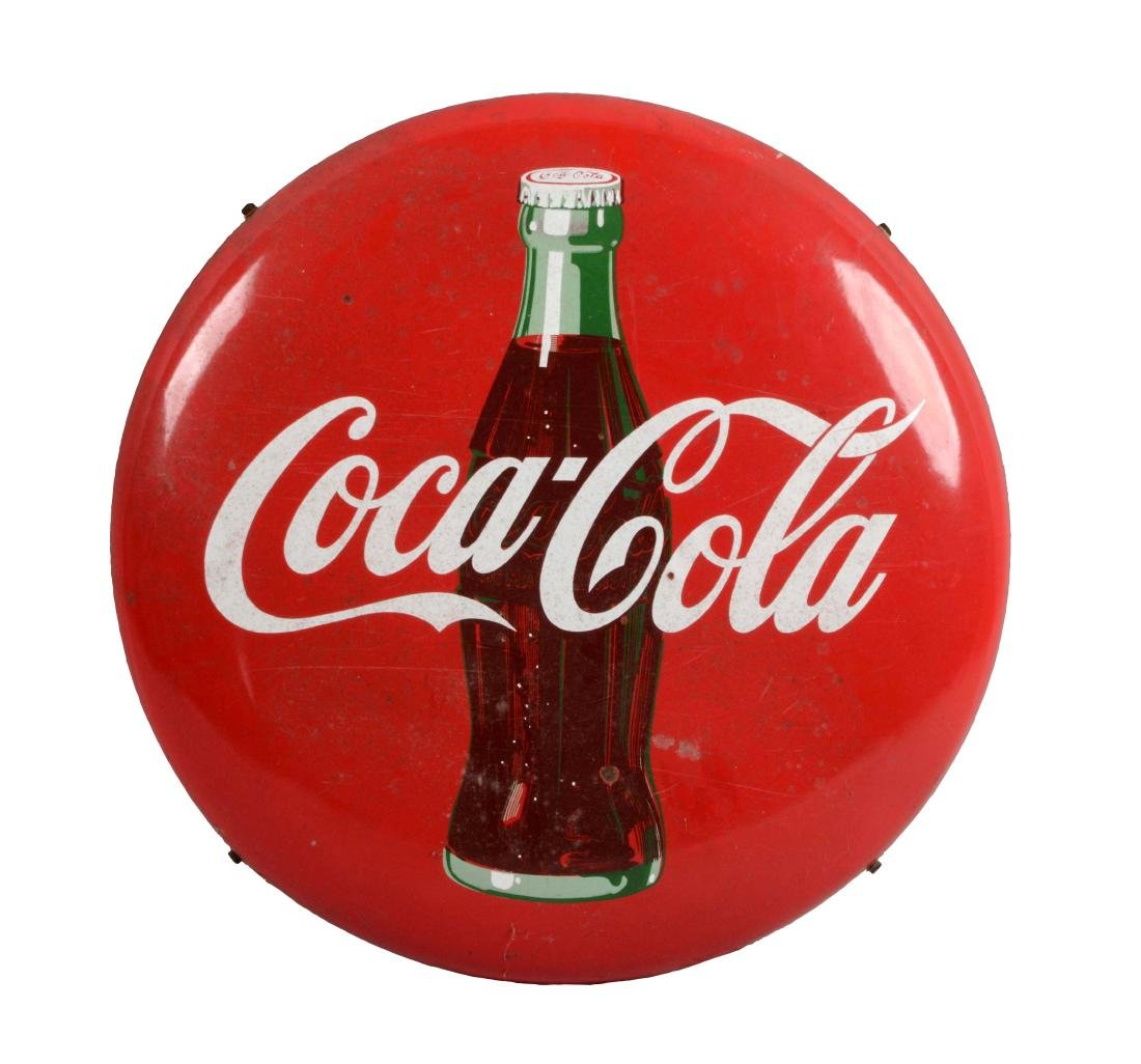 Coca-Cola Porcelain Button Sign with Iron Bracket.