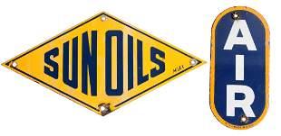 Lot Of 2 Sunoco Sun Oils Sunoco Air Porcelain Sign