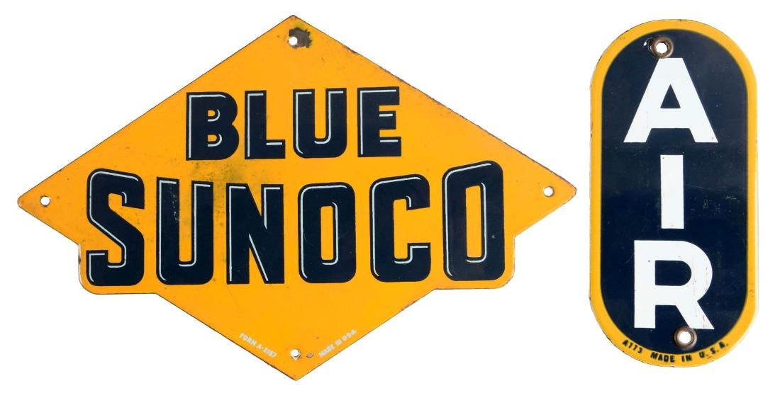 Lot of 2: Blue Sunoco Porcelain Pump Plate & Sunoco Air
