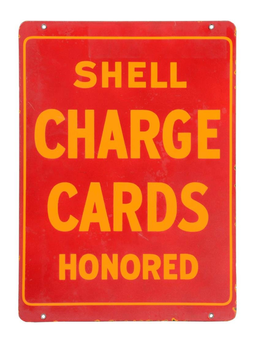 Shell Gasoline Charge Cards Honored Porcelain Sign.
