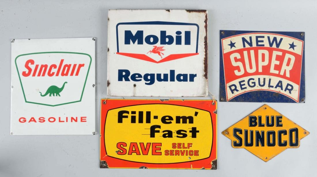 Lot of 5: Porcelain & Tin Gas Pump Plate Signs.