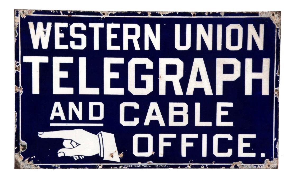 Western Union Telegraph & Cable Office Porcelain Sign.