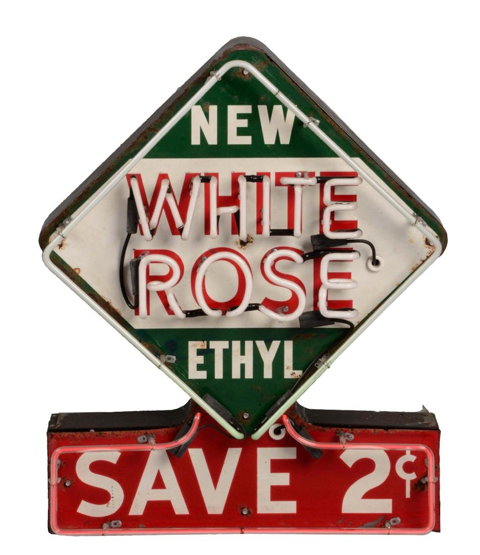 White Rose Ethyl Gasoline Tin Sign with Added Neon.