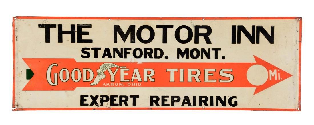 Goodyear Tires Embossed Tin Sign For The Motor Inn