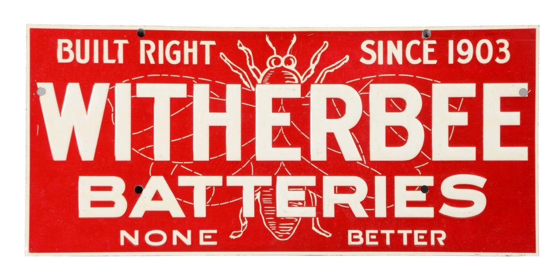 Witherbee Batteries Embossed Tin Sign.