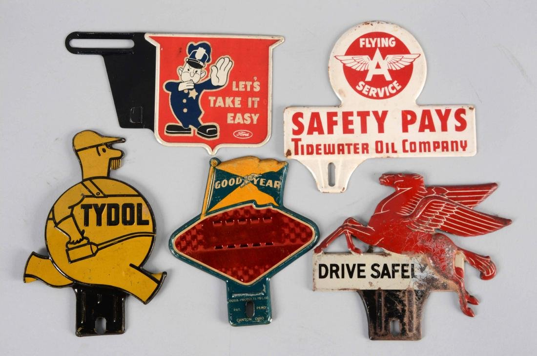 Lot of 5: Diecut Tin License Plate Toppers.