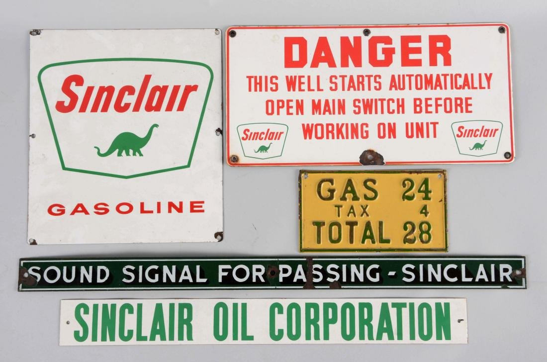 Lot of 5: Sinclair Gasoline & Motor Oil Signs.