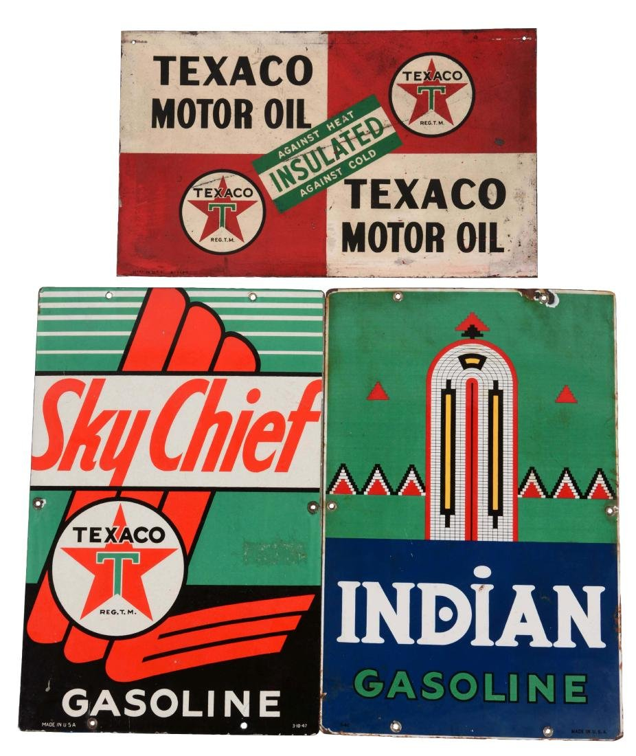 Lot of 3: Texaco & Indian Gasoline & Motor Oil Signs.