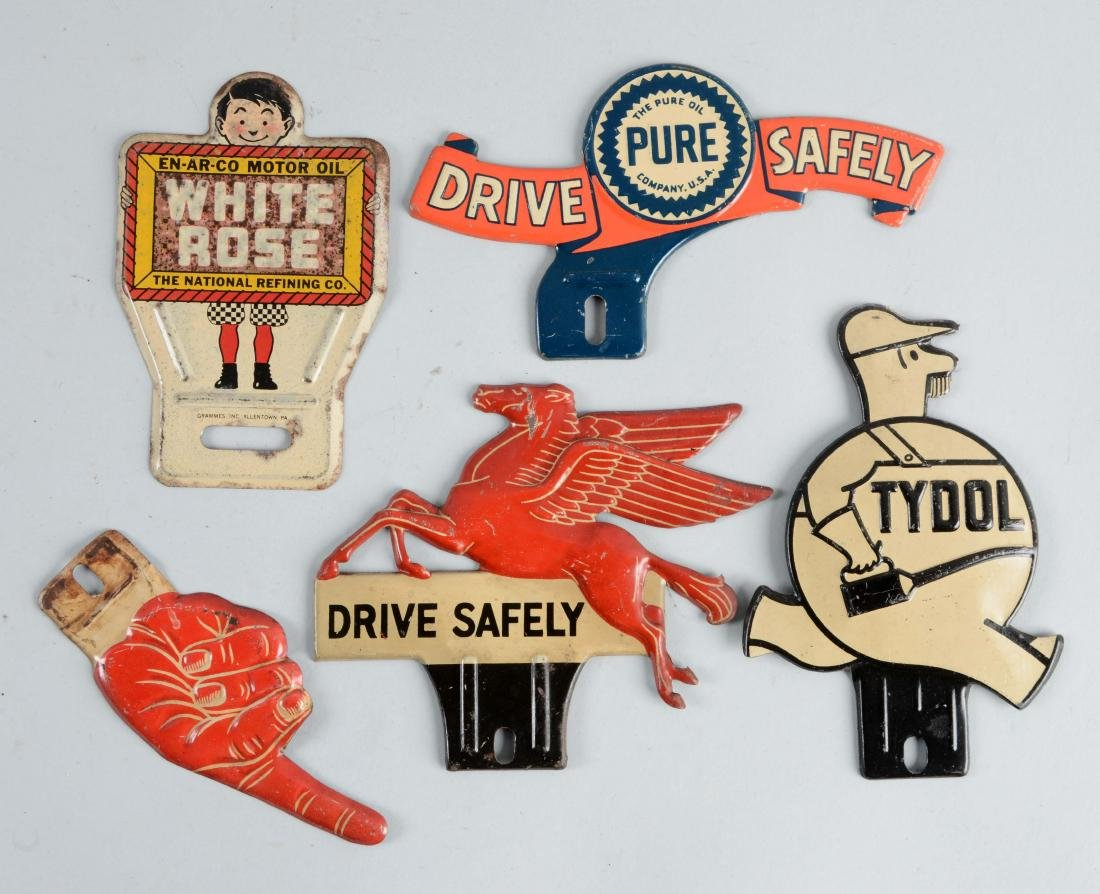 Lot of 5: Embossed Tin License Plate Toppers.