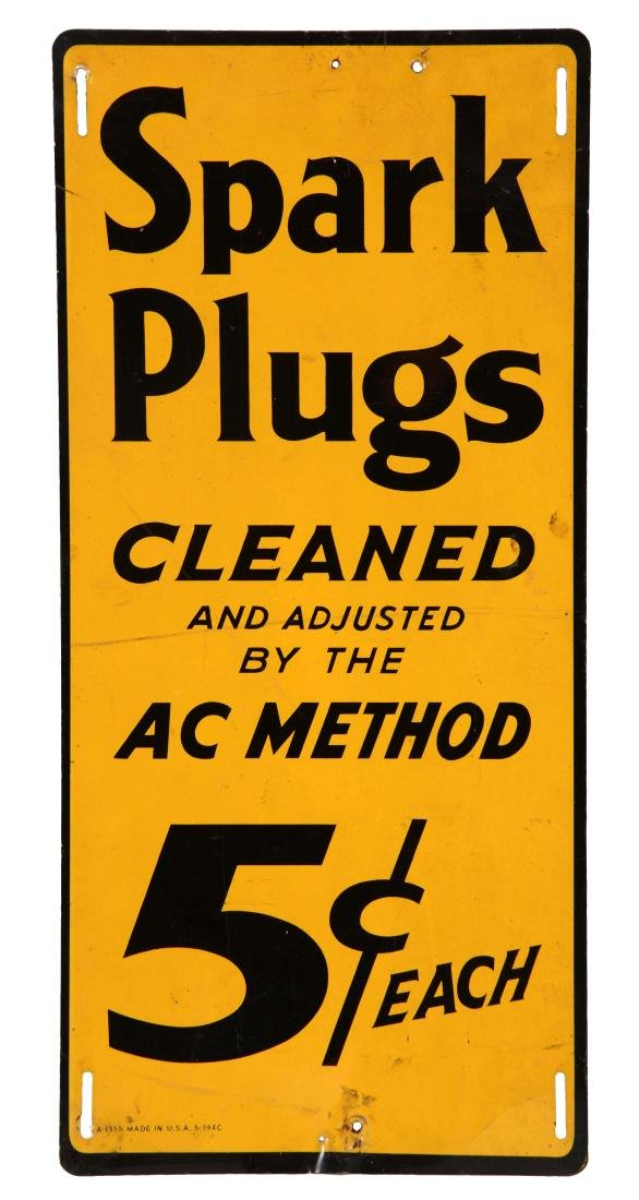 AC Spark Plugs Cleaned Tin Vertical Sign.
