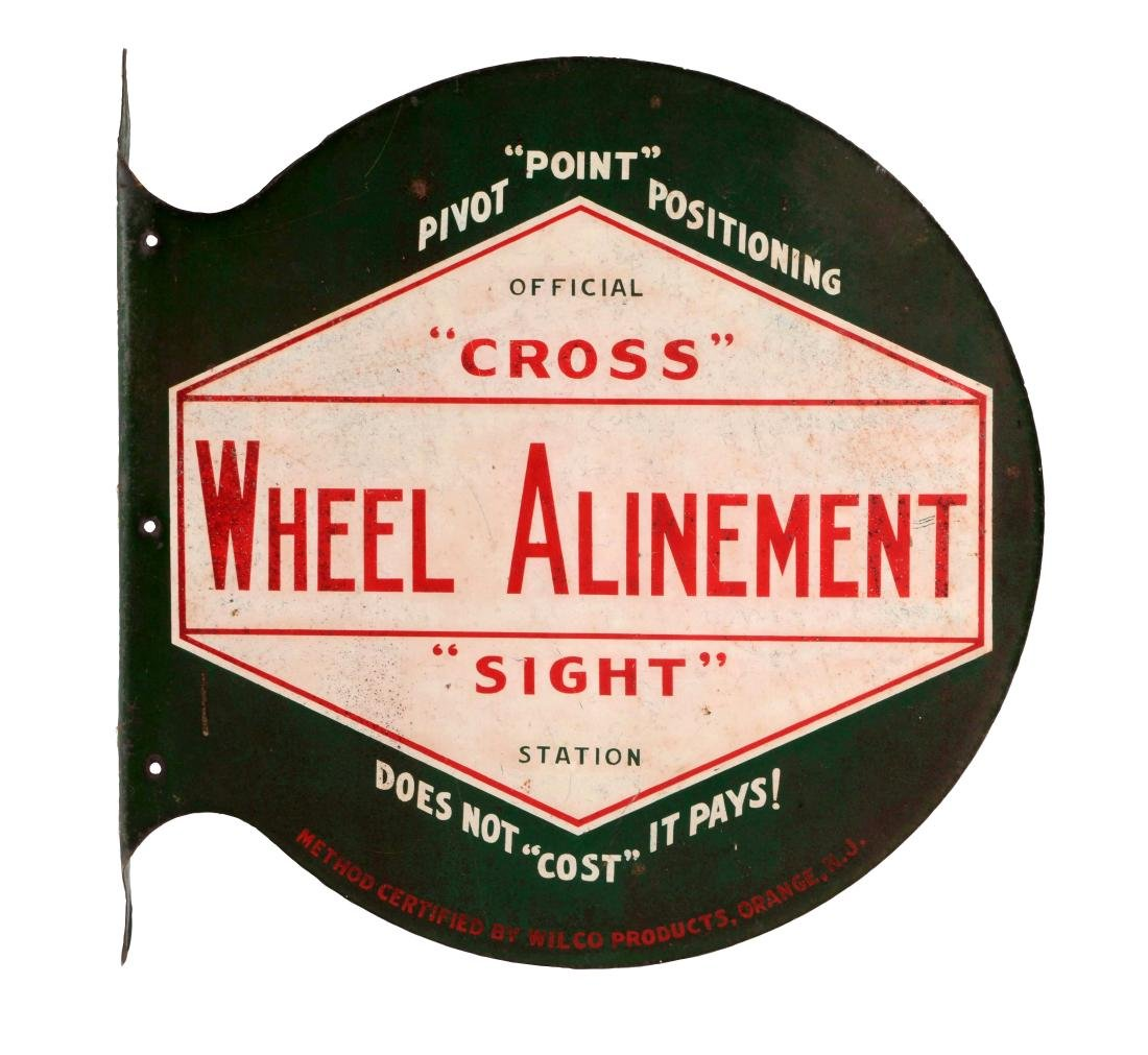Cross Wheel Alinement Station Tin Flange Sign.