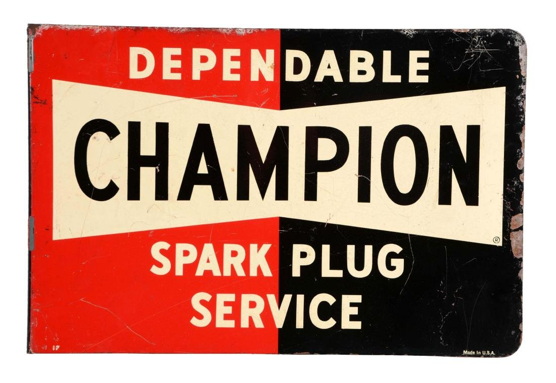 Champion Spark Plugs Service Tin Flange Sign.