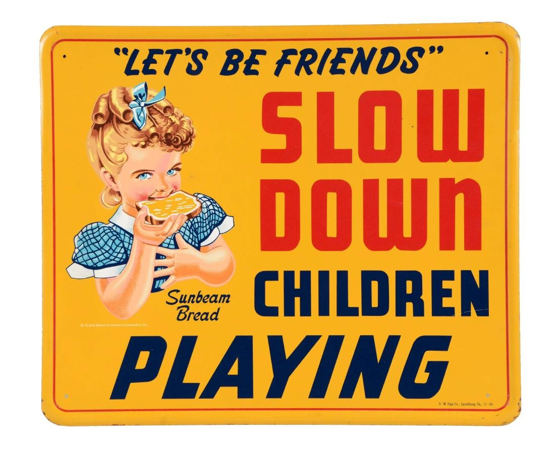 Sunbeam Bread Slow Down Children Playing Sign with Girl