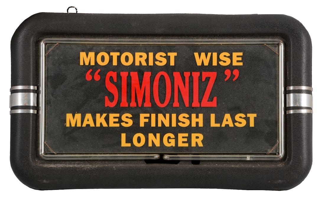 Simoniz Enamels Neon & Glass Store Display Sign.