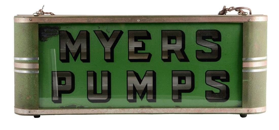 Myers Pumps Reverse Glass Light Up Store Display in