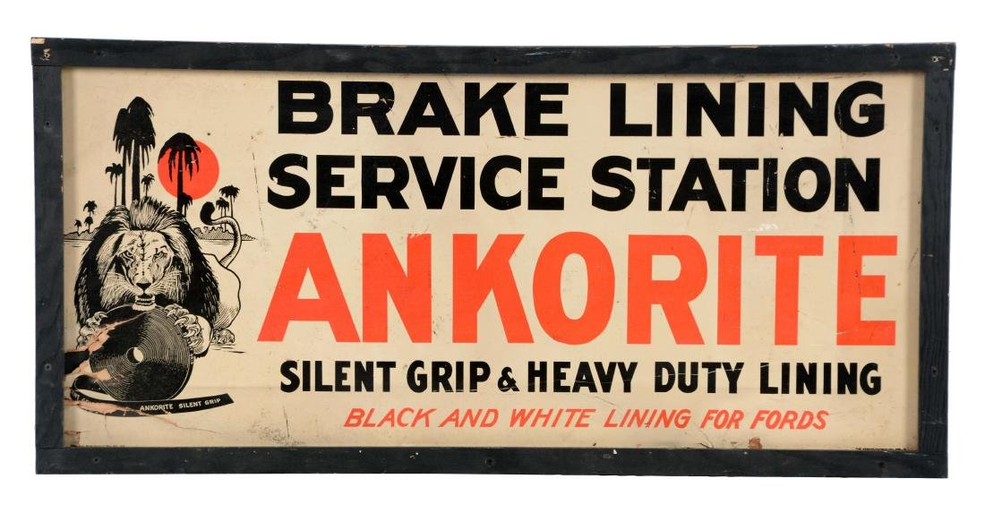 Ankorite Brake Lining Masonite Sign with Lion Graphic.