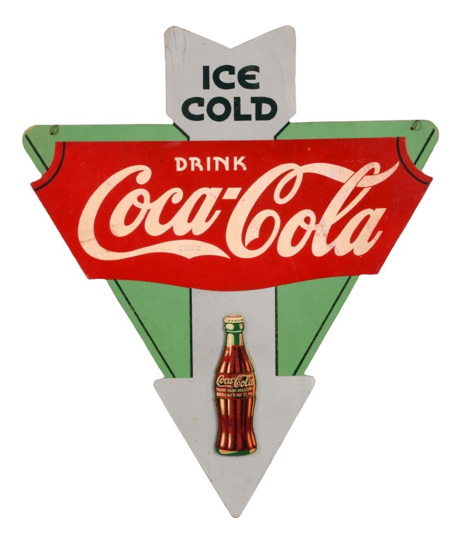 Ice Cold Coca-Cola Diecut Wooden Sign.