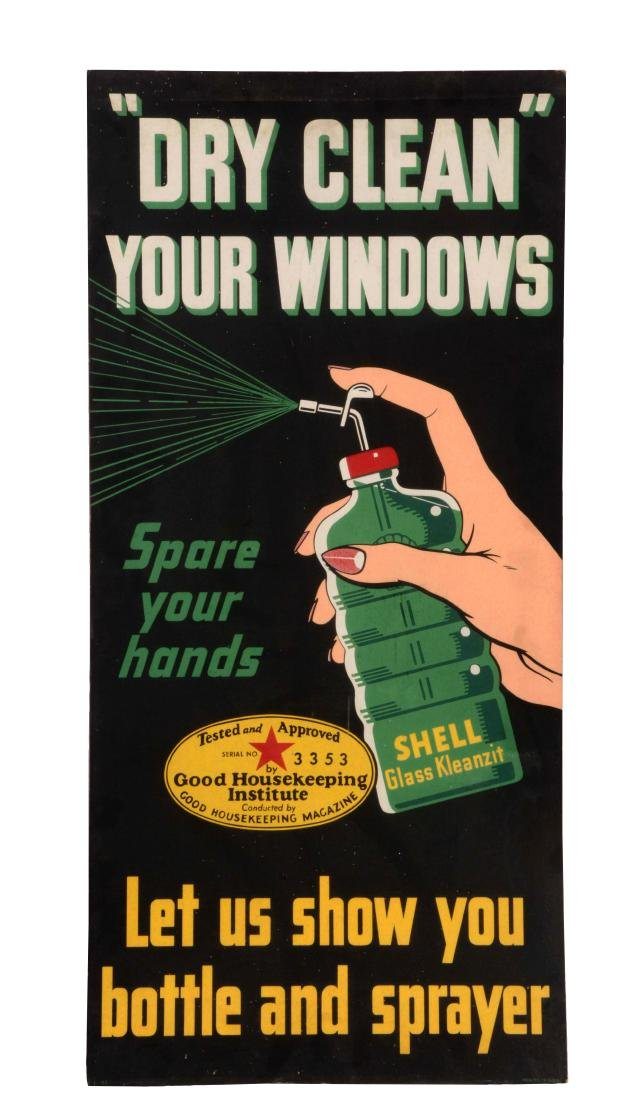 Dry Clean Your Windows with Shell Glass Kleanzit Sign.