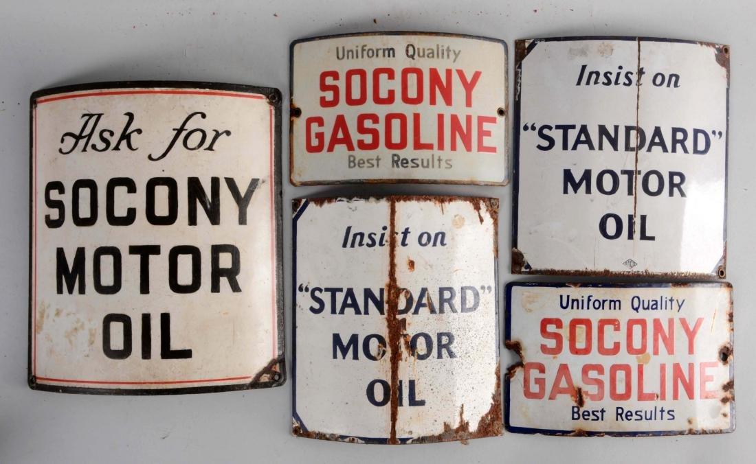 Lot of 5: Socony & Standard Curved Porcelain Pump