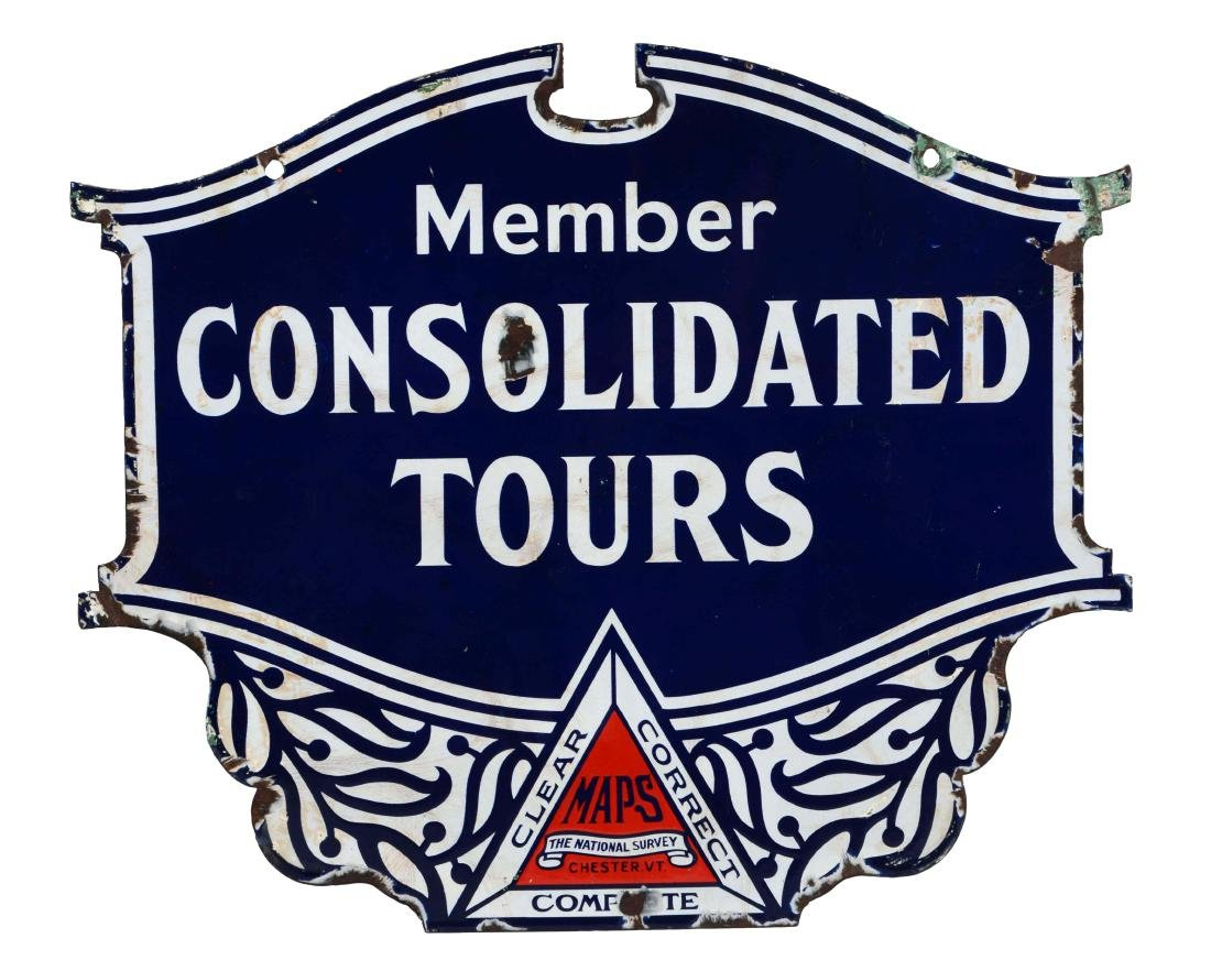 Consolidated Tours Diecut Porcelain Shield Sign.