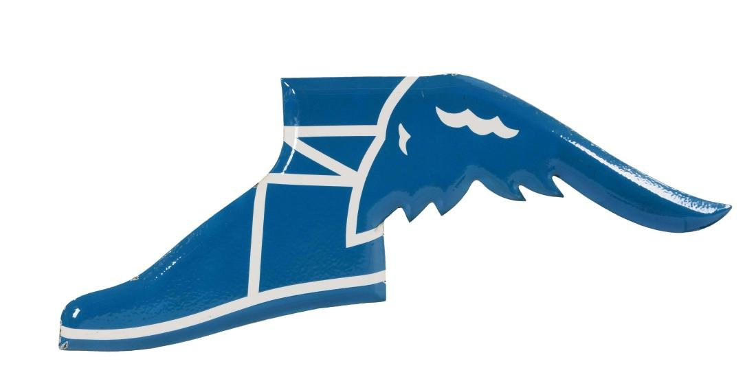 Goodyear Winged Foot Embossed Porcelain Sign.