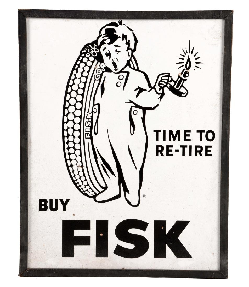 Fisk Tires Time to Re-Tire Porcelain Sign.