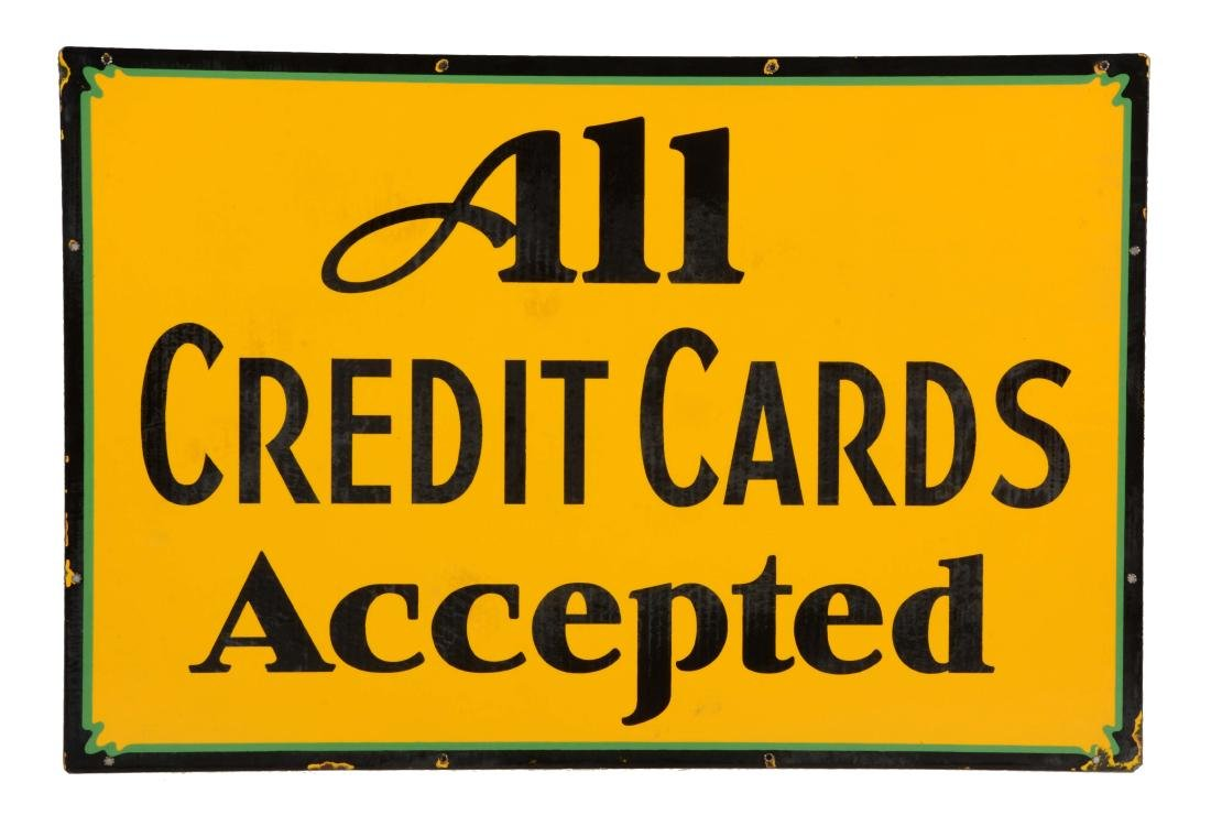 All Credit Cards Accepted Porcelain Sign.