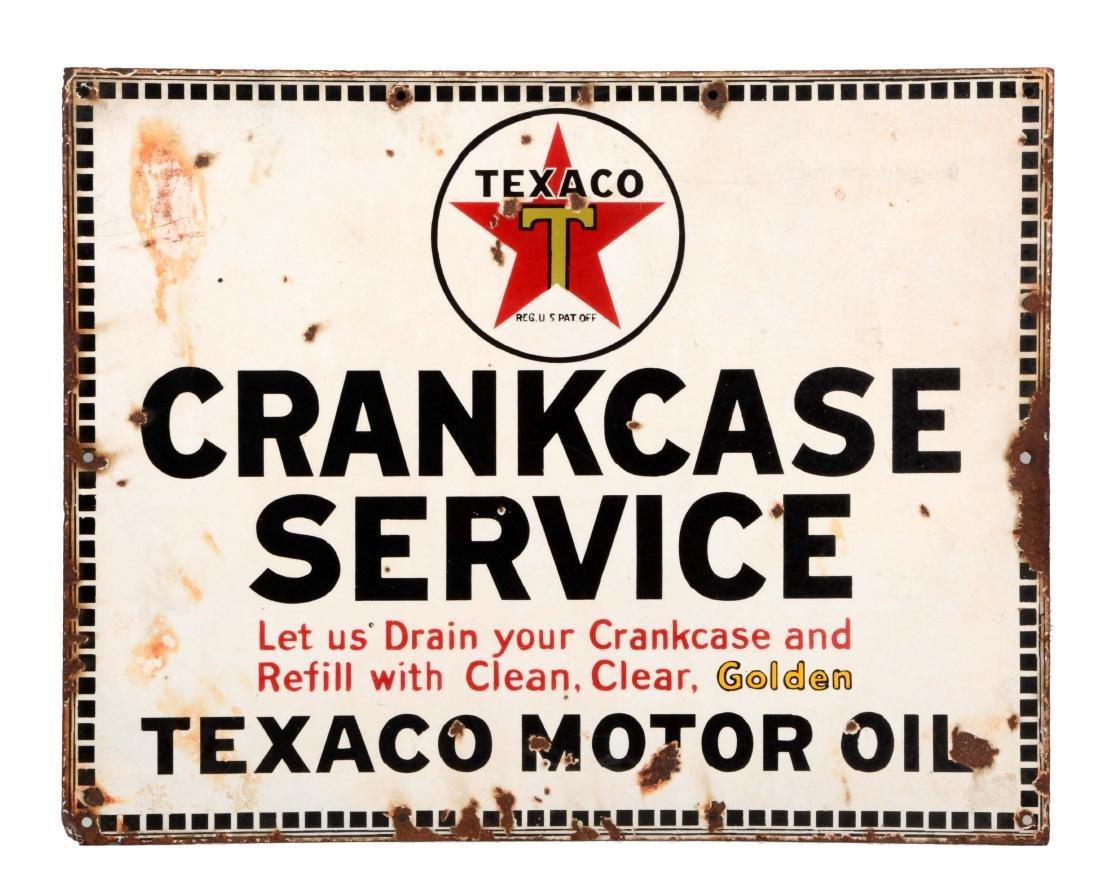 Texaco Crankcase Service Porcelain Sign.