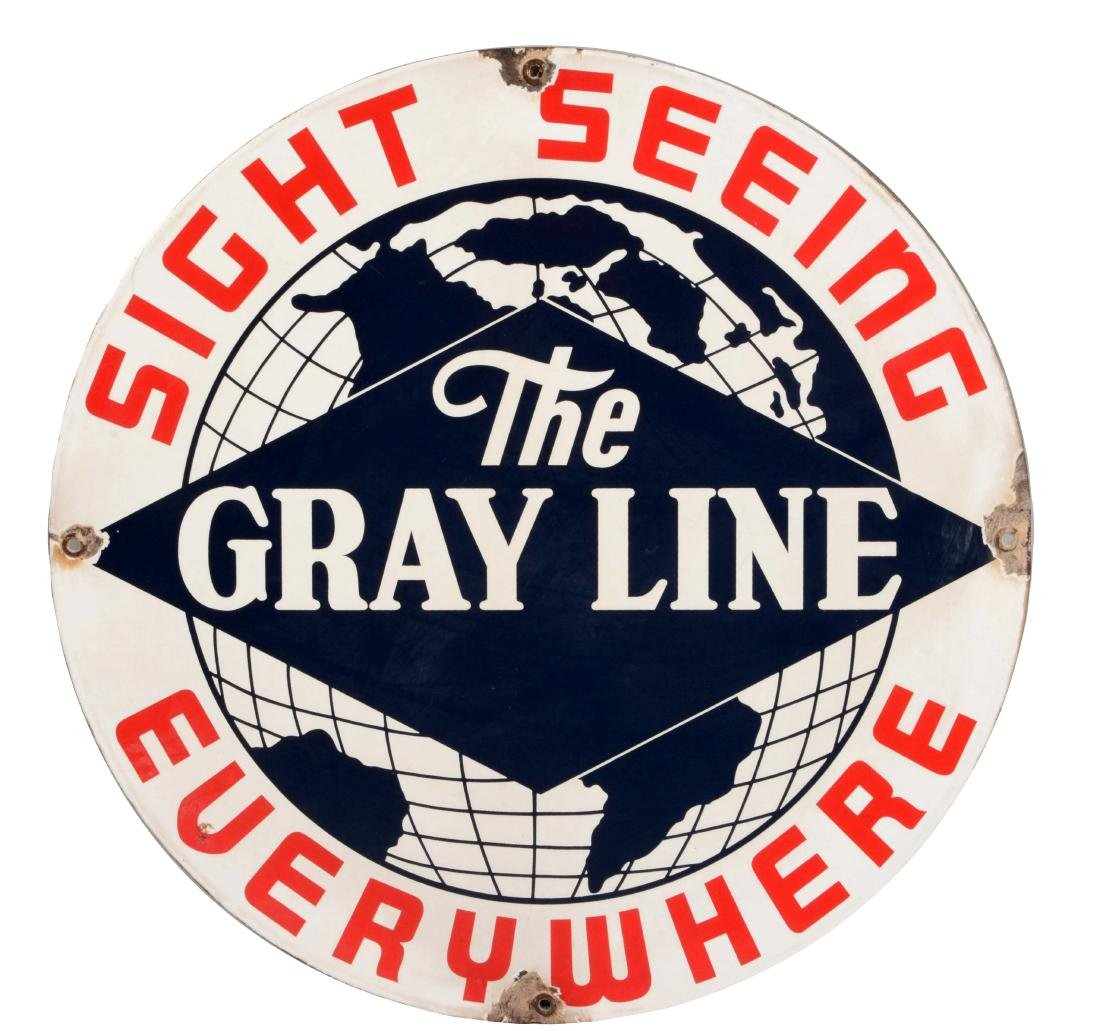 The Gray Line Bus Porcelain Sign with Globe Graphic.