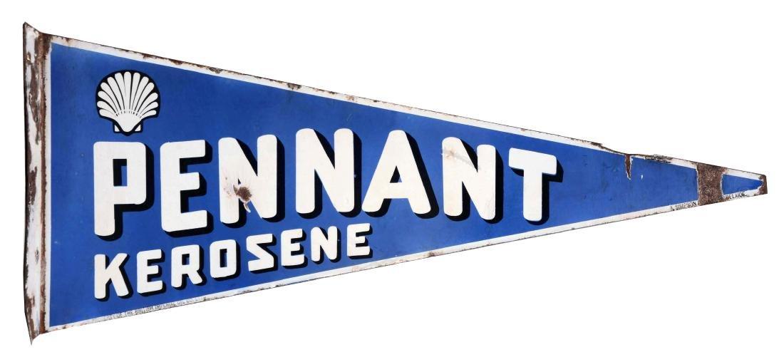 Pennant Kerosene Die Cut Porcelain Flange Sign.