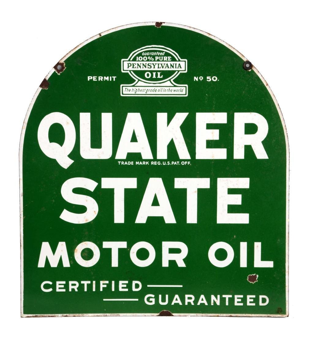 Quaker State Motor Oil Porcelain Tombstone Sign.