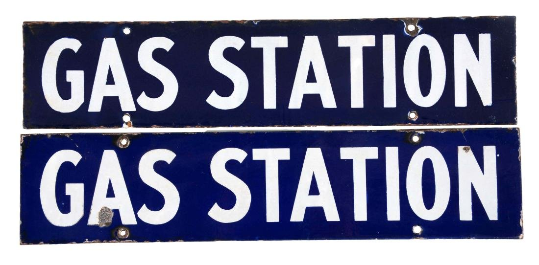 Lot of 2: Porcelain Gas Station Signs.