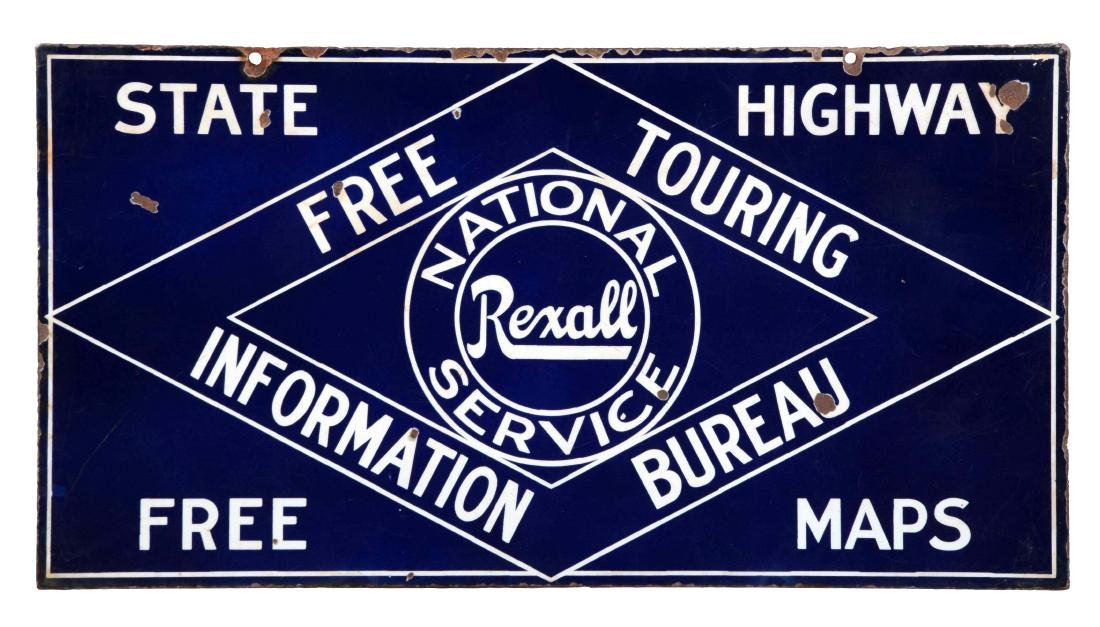 Rexall National Touring Service Porcelain Sign.